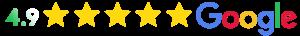 4.9 star rating on Google